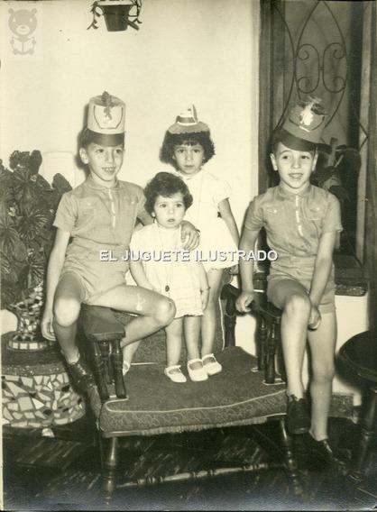 Ic03 Foto Cumpleaños Infantil Sombreros Moda Antiguo