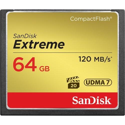 Cartão Compact Flash 64gb Sandisk Extreme 120mb/s (800x) Full Hd / 4k