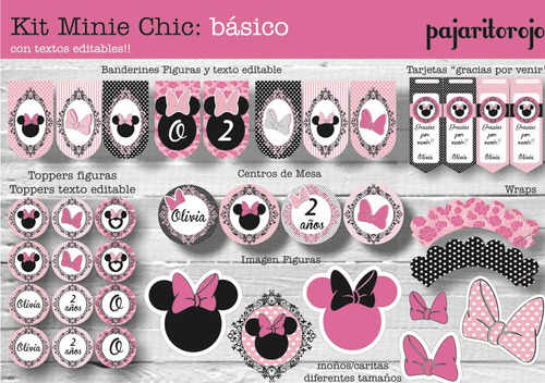 Kit Imprimible  Minnie Chic Rosa