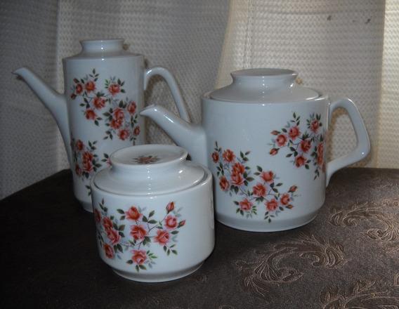 Cafetera Tetera Azucarera Porcelana Dresden Vajilla Antigua