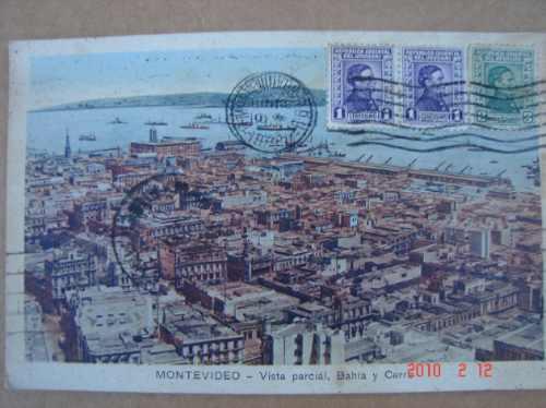 Montevideo 1933. Vista Bahia Y Cerro , Antigua Postal.
