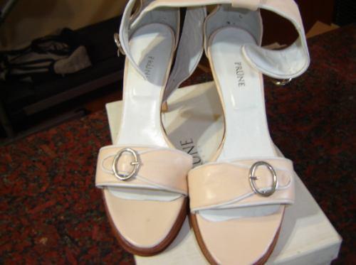 Prune Zapatos Sandalias Nº 40 Cuero Taco Alto Rosa Claro