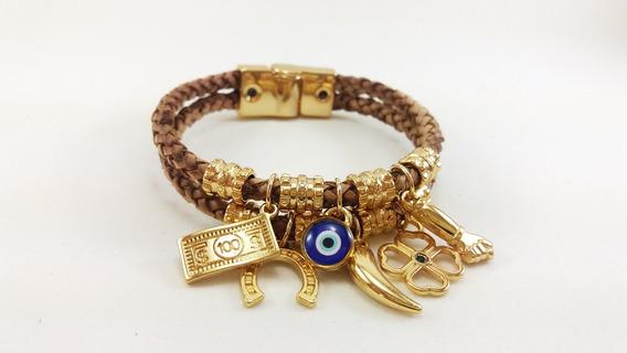 Pulseira Feminina Couro Berloque Amuleto Olho Grego Proteção