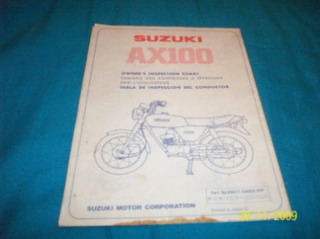 Manual Original Tabla De Inspeccion Suzuki Ax 100 Japon
