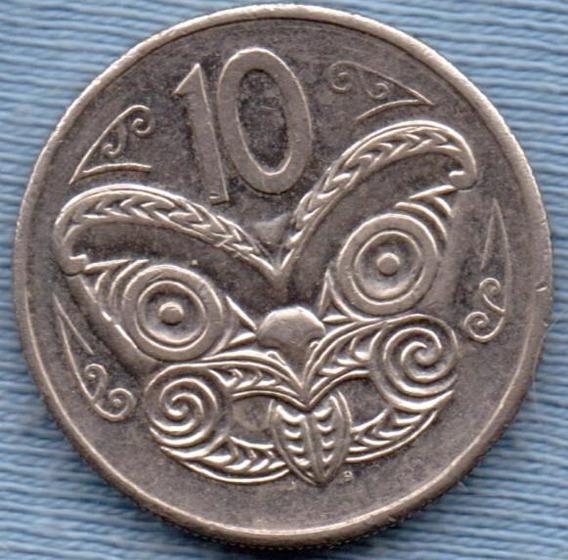 Nueva Zelanda 10 Cents 1985 * Mascara Maori Koruru *