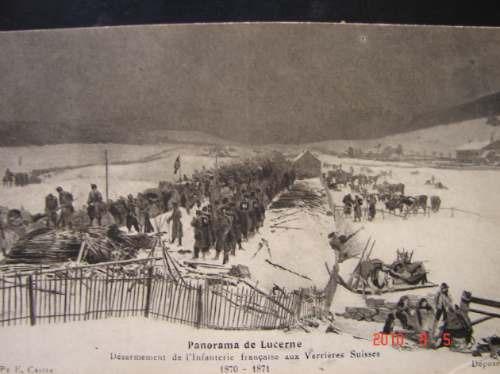 Paisaje Con Soldados En Luzern En 1871. Muy Antigua Postal.