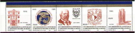 Mexico 1985. 75 Años Universidad Nacional (tira De 5)