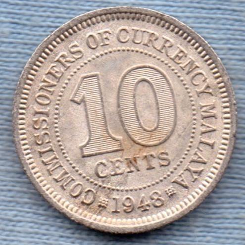 Malasia 10 Cents 1948 * Colonia Britanica *
