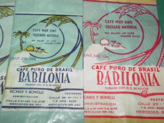 Tres Bolsas Antiguas Publicidad Cafe Babilonia Mercedes