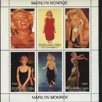 Marilyn Monoe - Plancha De 6 Estampillas De Rusia