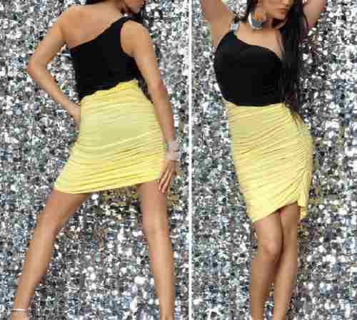 Vestido De Jersey Negro Y Amarillo!!!!talle M