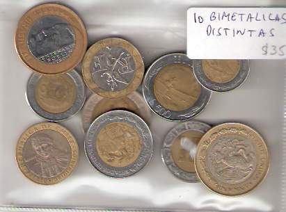 Lote 10 Monedas Bimetalicas Distintas ¡oferta!