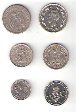Lote De 6 Monedas De Ecuador Distintas ¡ Oferta !