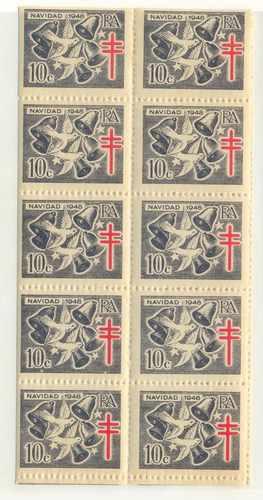 Argentina 1948 Fragmento De Plancha 10 Sellos Beneficencia