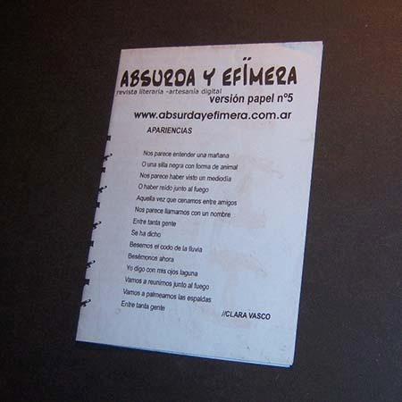Imagen 1 de 3 de Absurda Y Efímera Nro 5 . Directora : Valeria Iglesias