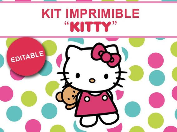 Kit Imprimible Editable Hello Kitty, Candy Bar, Golosinas