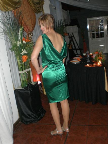 Vestido De Fiesta Verde Oscuro *