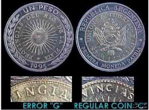 Moneda De 1 Peso Falladas / Error Acuñacion