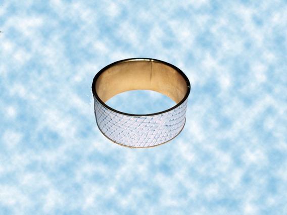 Bracelete Em Metal E Forrado De Couro Imitando Cobra Luxo.