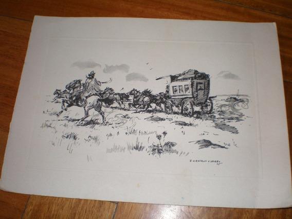Tarjeta No Postal Con Grabado De Antiguo Transporte