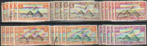 Egipto 6 Sellos Aéreos X 5 C/u Pirámides Y Avión Año 1933