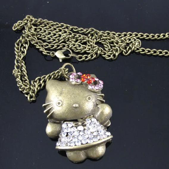 ¡ Vintage! Conjunto De Cadena Y Dije Forma Kitty Y Cristales