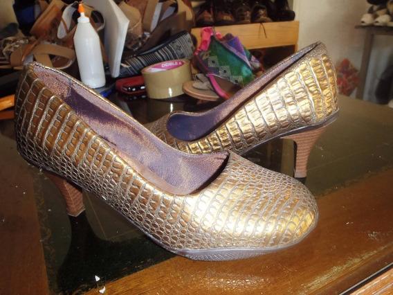 Zapato De Punta Redonda Retro Dorado 35