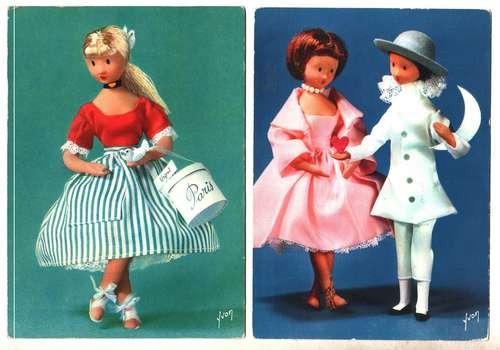Dos Postales Con Muñecas (francesas)