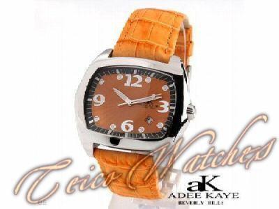 Relógio Adee Kaye Beverly Hills Aço Couro Safira 35mm