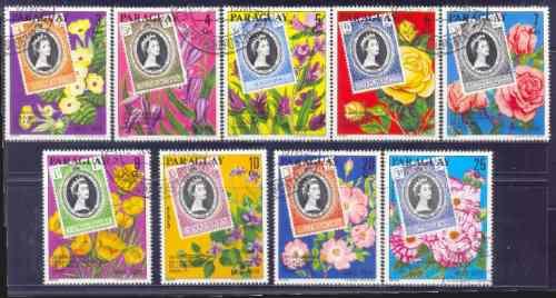 Paraguay 1978 Flores Serie Completa 9 Sellos Con Aereos