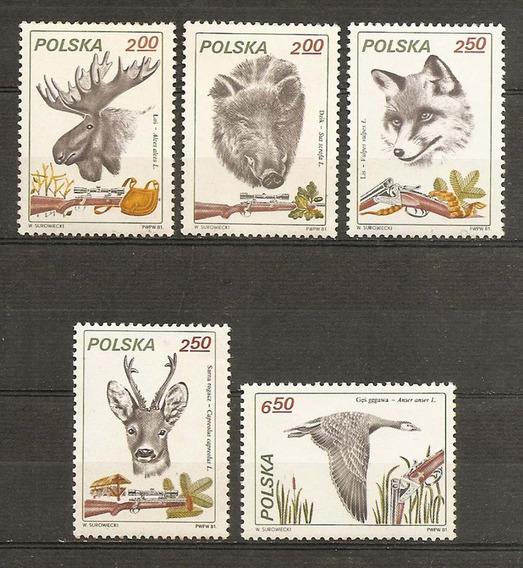 Polonia Ciervo Lobo Alce Jabalí Ganso Fauna 5v Mint