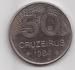 Brasil Moneda De 50 Cruzeiros Año 1984 !!!