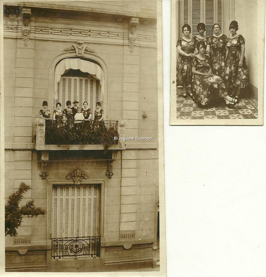 Grupo Muchachas Disfraz Corso C/1930 Casa Antigua Lote X2