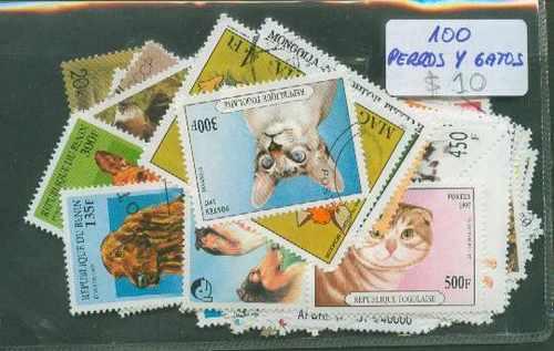 100 Estampillas Perros Y Gatos ¡ Distintas !