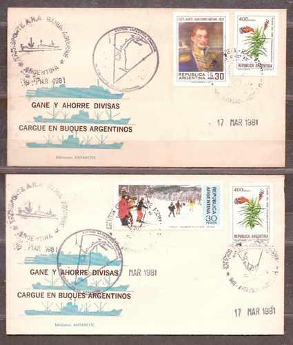 Antártida. Cargue Buques Argentinos 2 Sobres 4 Valores 1981