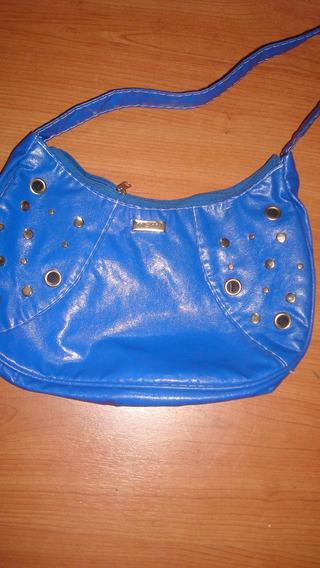 Cartera Azul Con Tachas Redondas Mediana Para Mujer