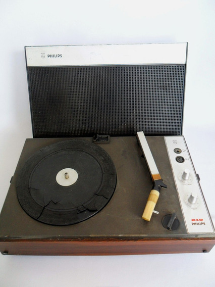 Vitrola Toca Discos Som Antigo Portátil Philips Coleção Leia