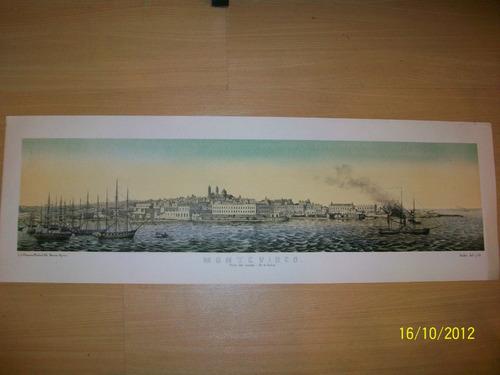 Montevideo Litografía. Vista Panorámica La Ciudad