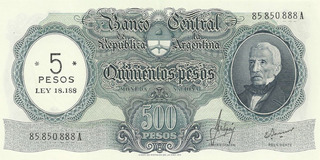 Billete 500 Pesos M/n Resellado 5 Pesos Ley Bottero 2208 Ex+