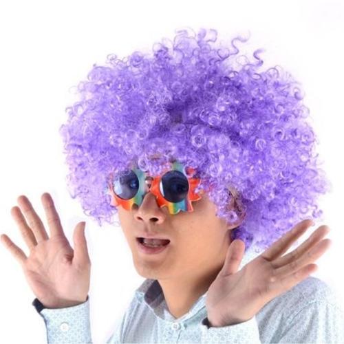 ¡ Peluca Afro Lila Fantasía Fiesta Halloween Hora Loca !!