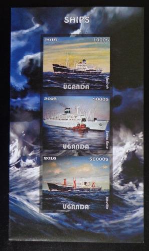Uganda Barcos, Bloque 3 Sellos S Dentar 2016 Mint L8186