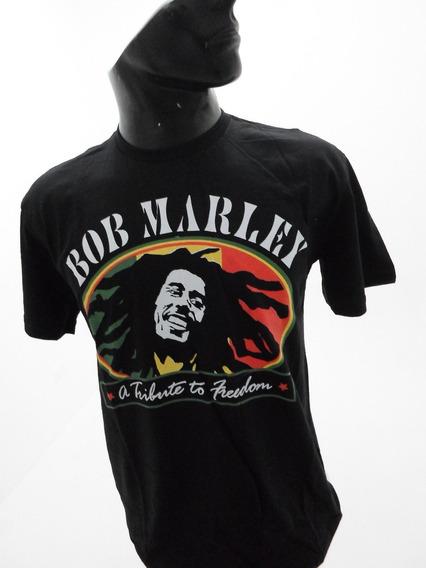 Camiseta M/c Estampada Raggae Bob Marley Rock