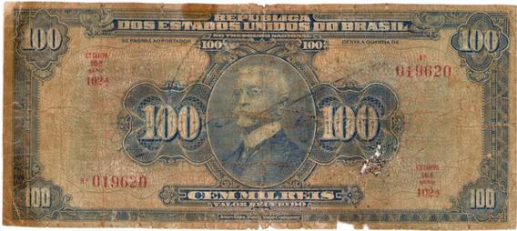 Brasil R-141d, 100 Mil Réis 1942, Autografada, Série 102, Bc