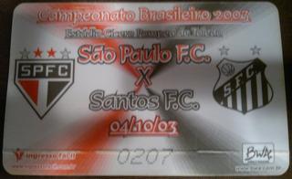 Ingresso Campeonato Brasileiro 2003 São Paulo X Santos