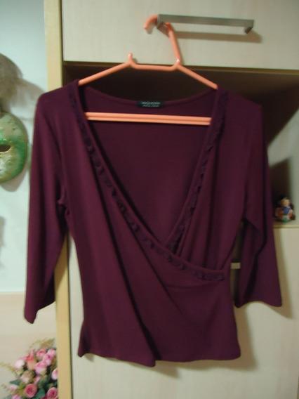Blusa Púrpura De Malha Mangas