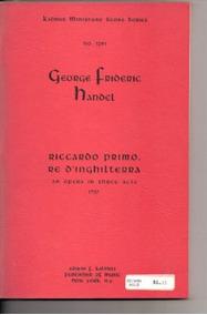 Livro Handel Riccardo Primo Rè D