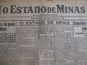 Jornal Estado De Minas Gerais 1 Edição Ano 1928