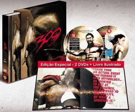 300 Graphic Novel Em Livro Ilustrado [ 48 Pgs ] + Dvds