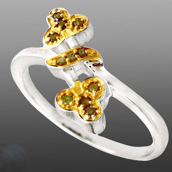 Diamantes Amarelos Naturais- Anel De Prata 925- 2 Tons