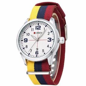 Relógio Curren Analógico 8195 Amarelo E Vermelho